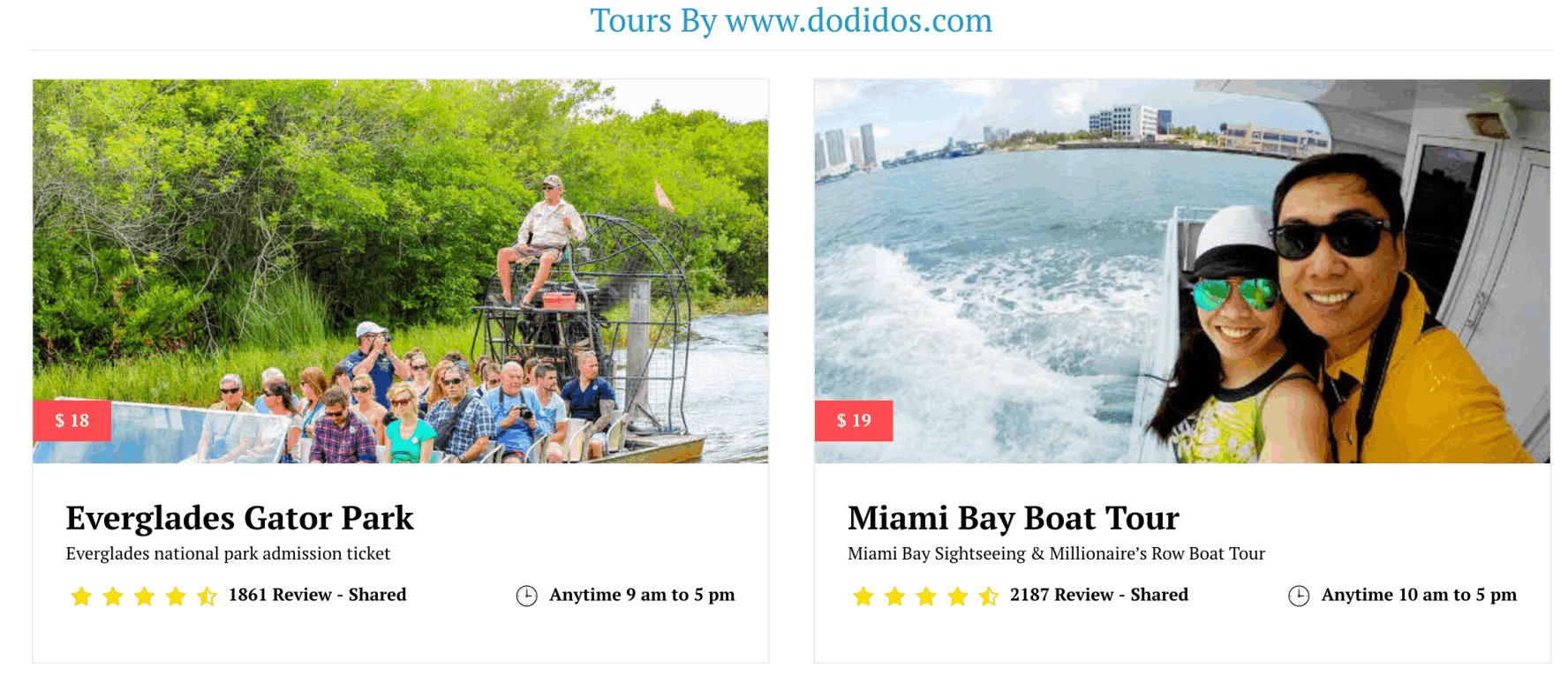 Miami Tours with car seat